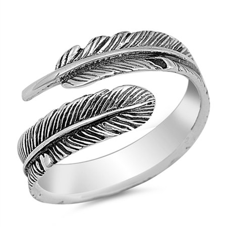Open Oxidized Wrapped Leaf Ring New .925 Sterling Silver Feather Band Size 6 ()