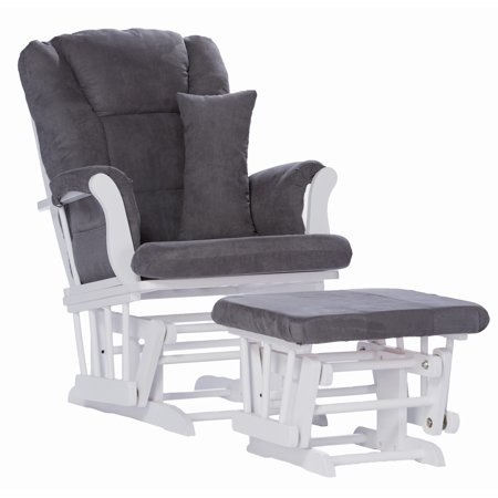Storkcraft Tuscany Glider and Ottoman with Lumbar Pillow, White Finish with Gray