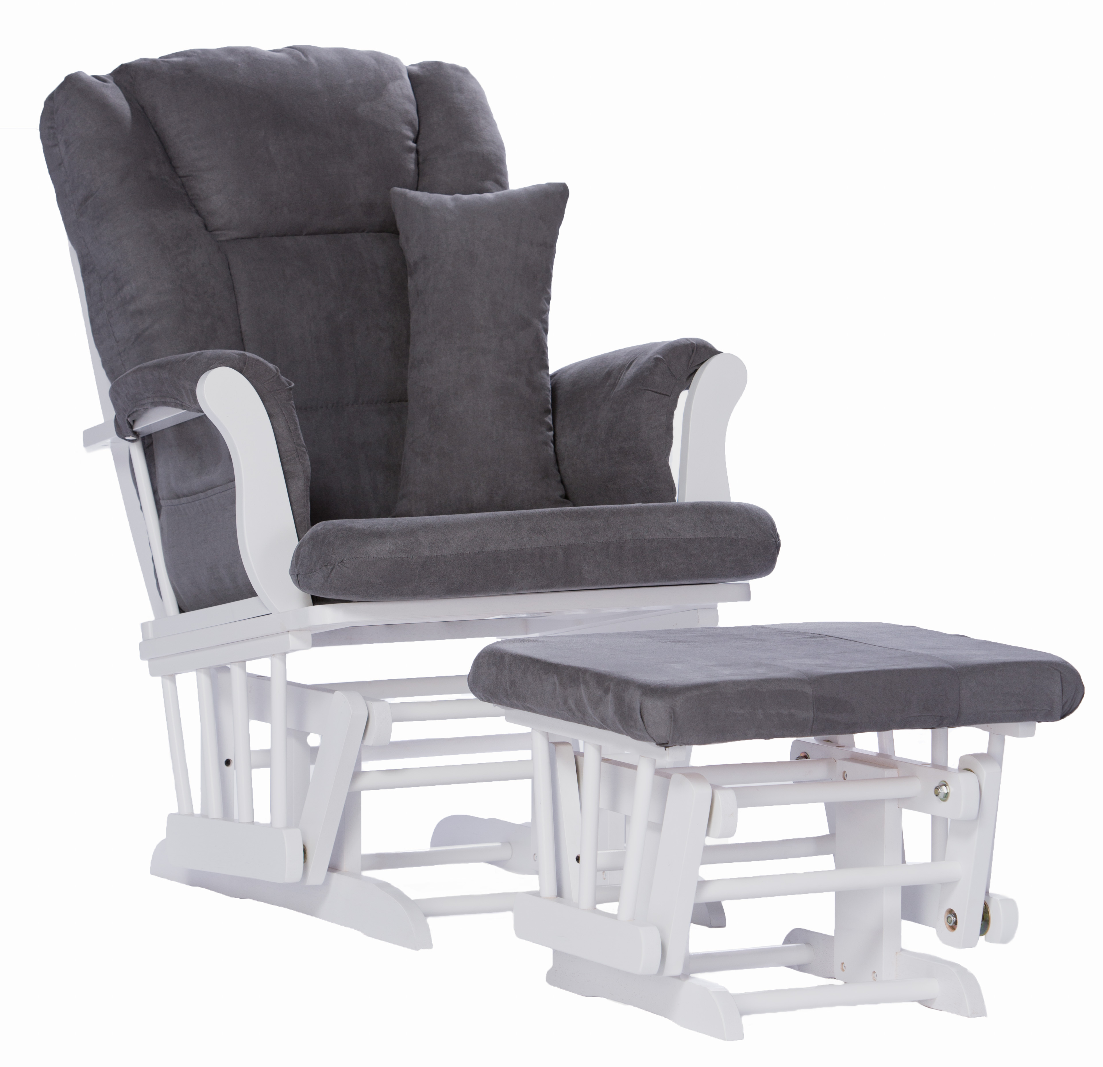 Storkcraft Tuscany Glider and Ottoman with Lumbar Pillow, White Finish with Gray Cushions