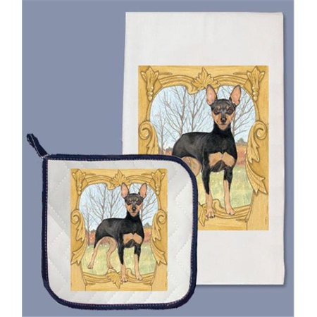 Pipsqueak Productions DP954B Miniature Pinscher Dish Towel And Pot Holder Set