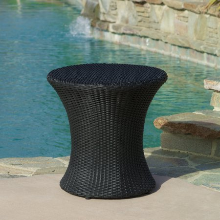Beasley Wicker Outdoor Accent Table, Black