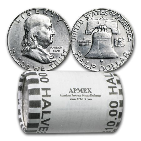 90% Silver Franklin Halves $10 20-Coin Roll AU