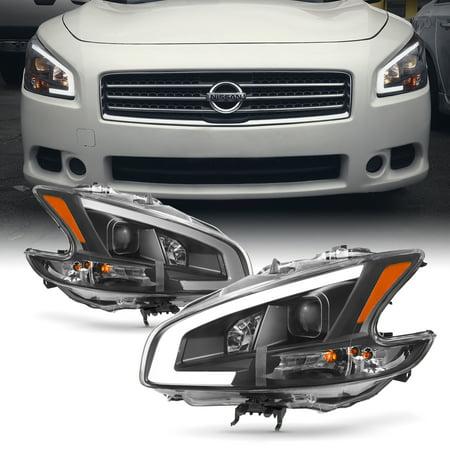 Fits [Black] 2009-2014 Maxima LED DRL Light Bar Projector Front Headlights