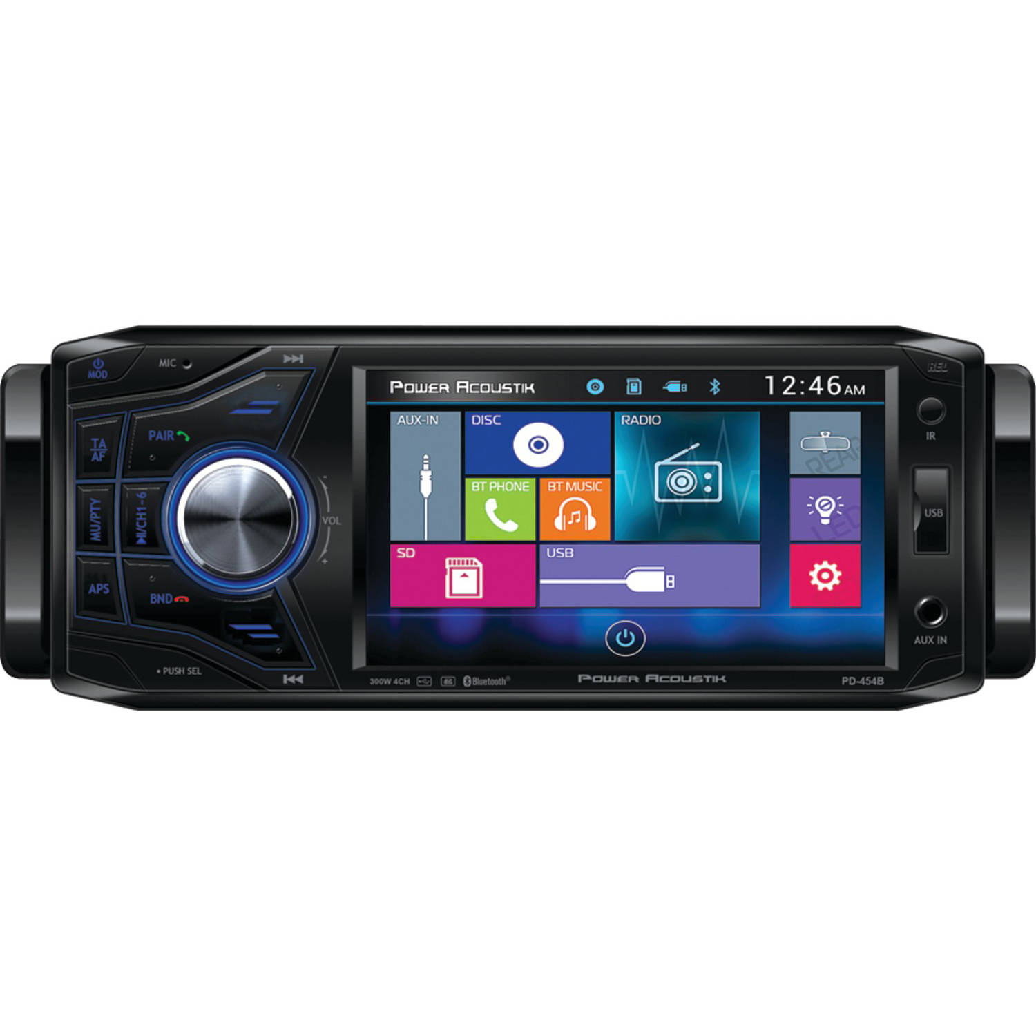 "Power Acoustik PD 454B 4.5"" Single DIN In-Dash Oversized and Detachable LCD Touchscreen DVD Receiver with Bluetooth"