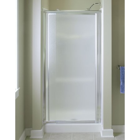 Sterling 1530D-48S Vista Pivot II 42u0022-48u0022W x 69u0022H Framed Pivot Shower Door, Silver/Pebble Glass Texture