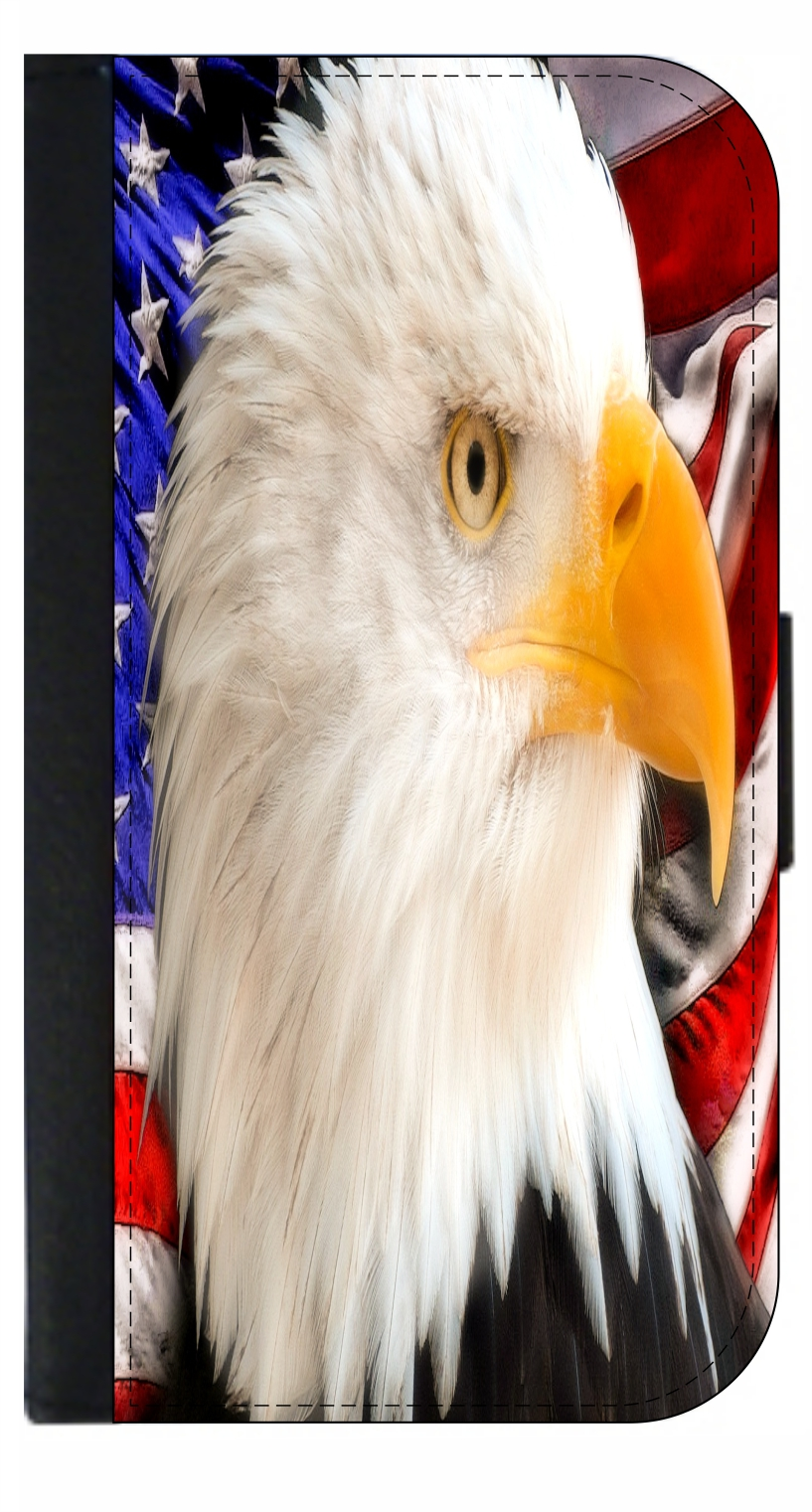 Eagle with American Flag Leather Passport Cover Travel Passport Holder Cover Case