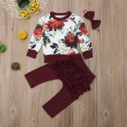 Newborn Baby Girls Winter Outfits Clothes Flower Tops+Ruffle Long Pants 3Pcs Infant Clothes 0-24M