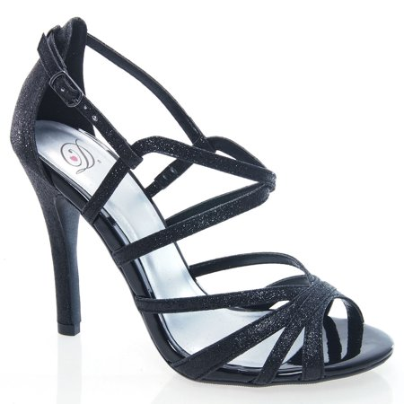 DamonS by Delicious, Black Glitter Dress Sandal Evening Prom Dance Club Strappy Stiletto Heel