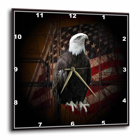 3dRose Bald Eagle with American Flag - Wall Clock, 13 by 13-inch Flag Wall Clock