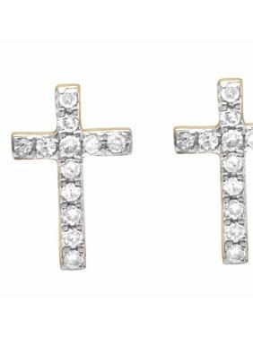 Unisex 10K Yellow Gold Genuine Diamond 1 Row Cross Earrings Studs 1/10 CT 9MM