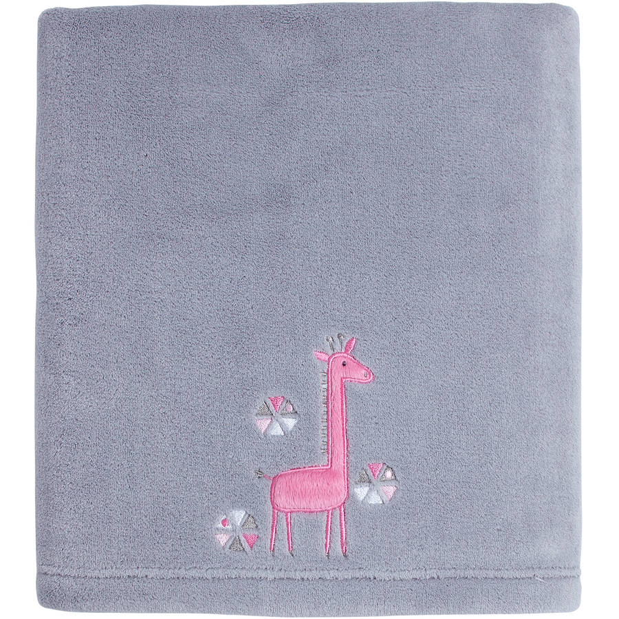 Little Love by NoJo Giraffe Time Pink Applique Blanket