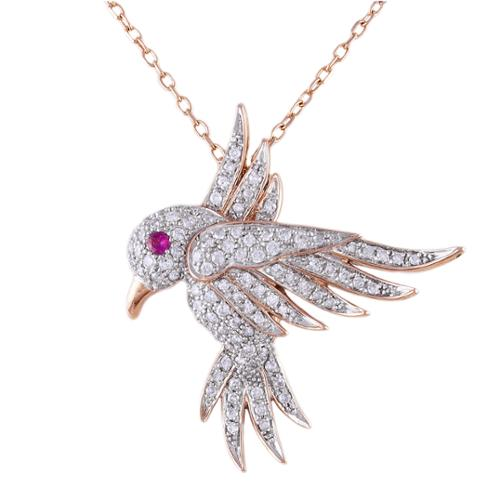 Beverly Hills Charm 14k Rose Gold 1 3ct TDW Diamond and Pink Sapphire Hovering Bird Necklace (H-I, I2-I3) by Overstock