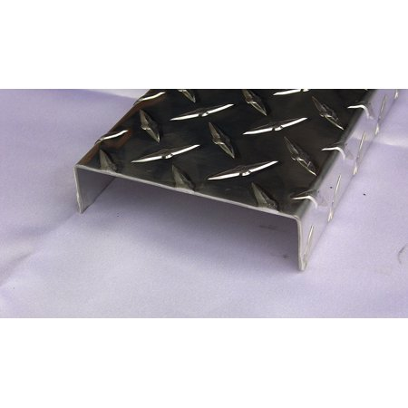 Aluminum C-Channel Diamond Plate 1 x 4 x 1 x 48 in, 1/16 in thick, Tread  Bright, Hash Plate (Running Board) - UAAC