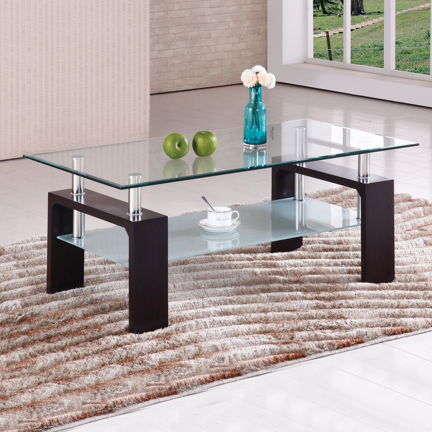 home source contemporary raised glass coffee table - walmart