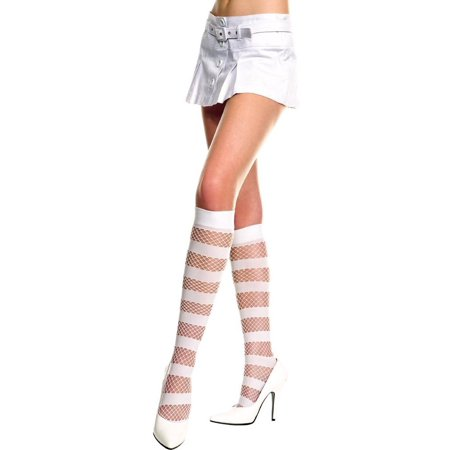 Opaque Diamond Net Knee Hi Nylon Costume Stocking Hosiery