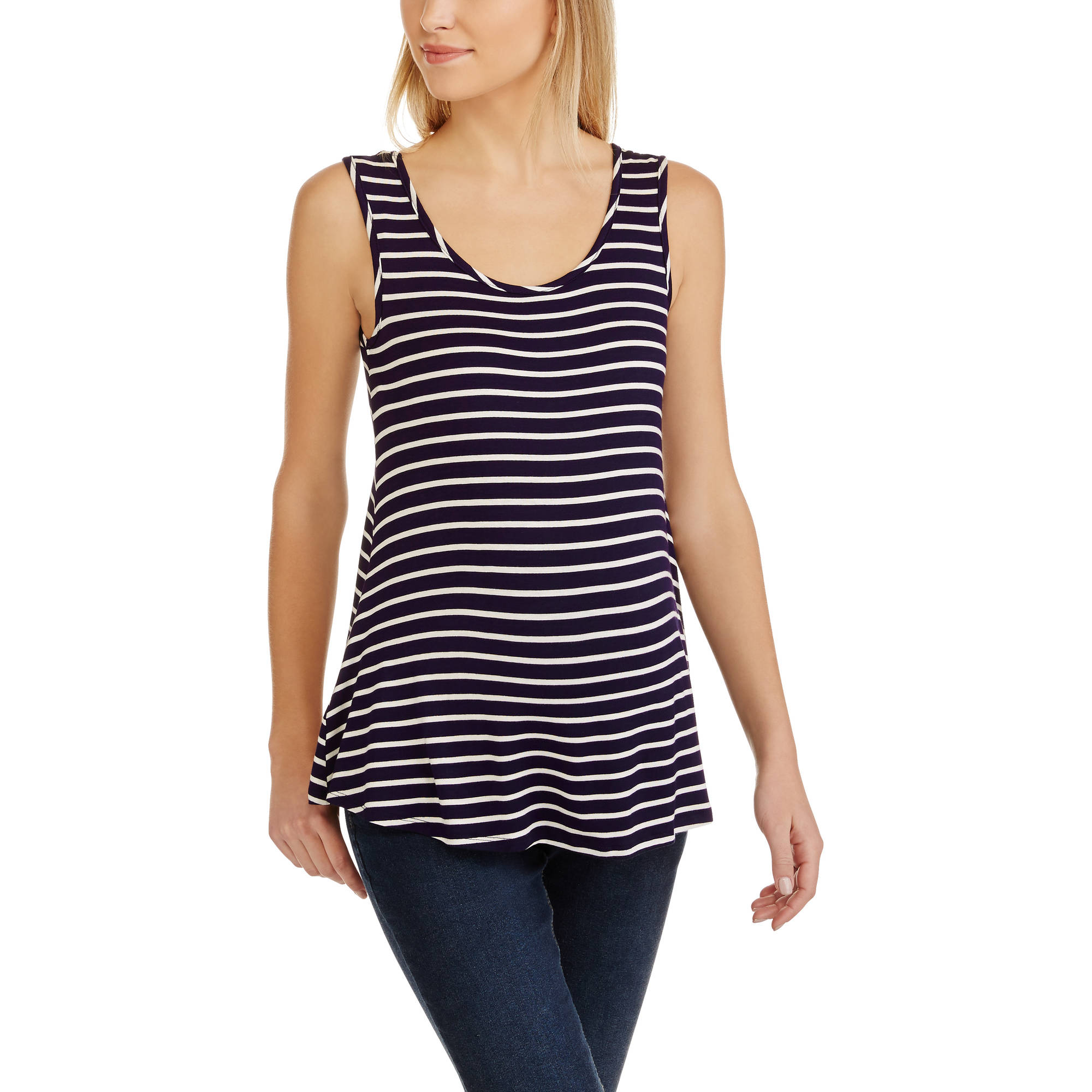 Maternity Sleeveless Striped Cross-Back Tee