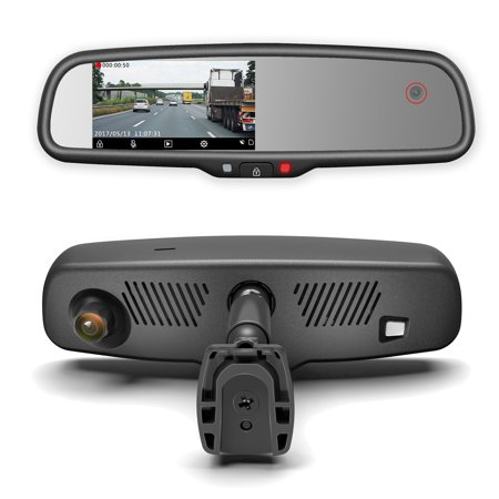 Camera Mirror (Master Tailgaters Rear View Mirror with DUAL CAMERA HD DVR Dash Cam with Microphone + wifi app (records forward and inside cabin passengers) )