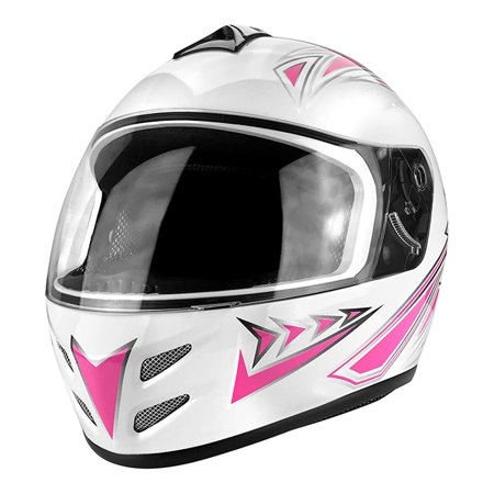 Full Face Motorcycle Helmet With Flip Up Visor Gloss White / Pink