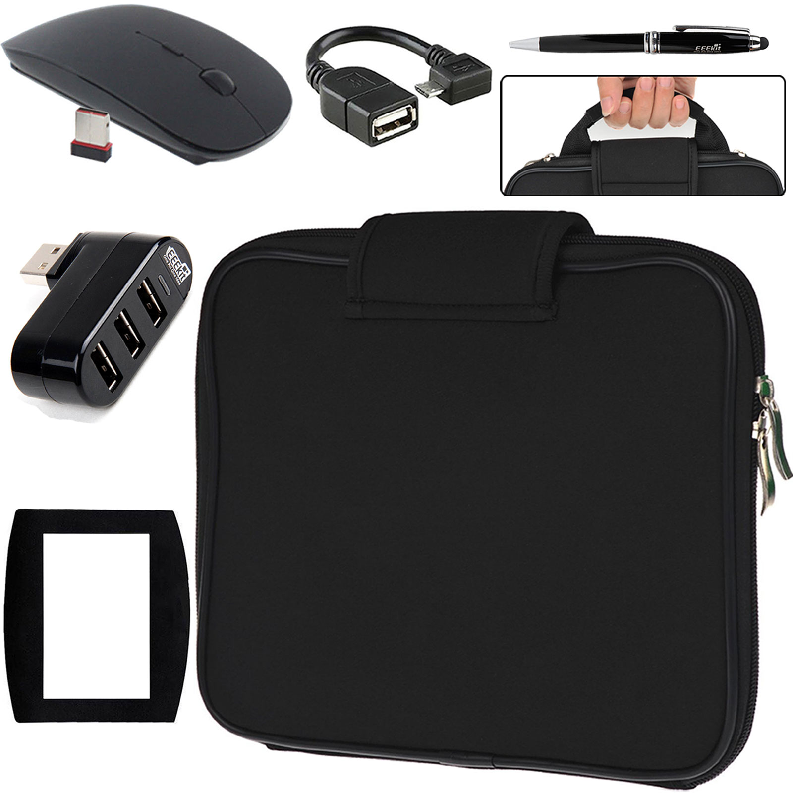 EEEKit 5in1 Kit for Nextbook Flexx 11.6,Carrying Sleeve Case Bag+3 Port USB HUB+Micro USB OTG Cable+Wireless Mouse+Stylu