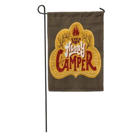 LADDKE Watercolor Happy Camper Humorous Hand Lettered Badge Phrase Typographic Lettering Garden Flag Decorative Flag House Banner 12x18 inch](Phrase Humour Halloween)