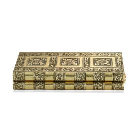 Handcrafted Goldtone Aluminium Trinket Jewelry Organizer Box Storage with Red Faux Velvet Interior Floral Gold Trinket Box