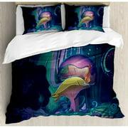 Ambesonne Mushroom Big Magical Plant in Fairytale Forest at Midnight Children Book Design Wonderland Duvet Cover Set