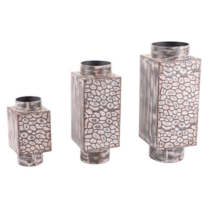 Set Of 3 Metal Steel Decorative Dining Table Centerpiece Vases  - Antique