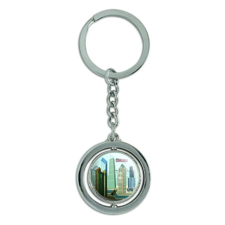 Chicago Hancock Building Willis Tower Spinning Circle Metal Keychain - Chicago Keychain