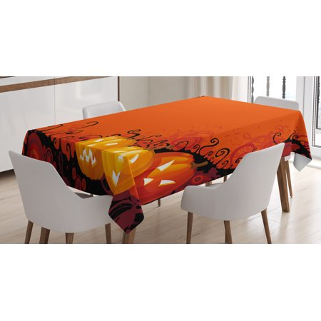 Spider Web Tablecloth, Three Halloween Pumpkins Abstract Black Web Pattern Trick or Treat, Rectangular Table Cover for Dining Room Kitchen, 52 X 70 Inches, Orange Marigold Black, by - Trick Or Treat Halloween Pumpkin