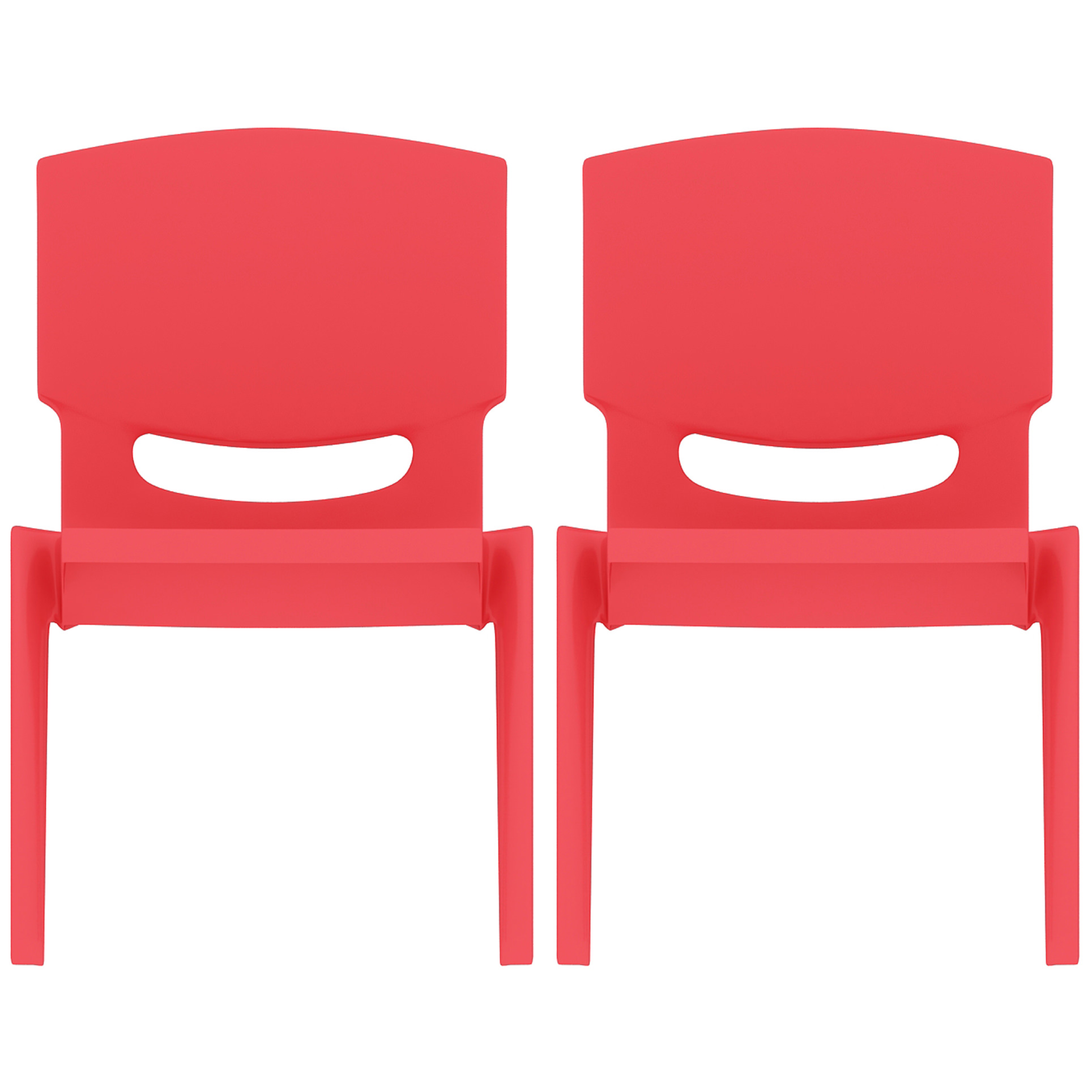 "2xhome - Set of 2 (Two) Red - Kids Size Plastic Side Chair 12"" Seat Height Childs Chair Childrens Room School Chairs No Arm Arms Armless Molded Plastic Seat Stackable"