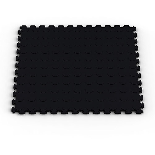 Norsk-Stor NSMPRC6BLK Raised Coin Pattern PVC Floor Tiles, 13.95-Square Feet, Black, 6-Pack