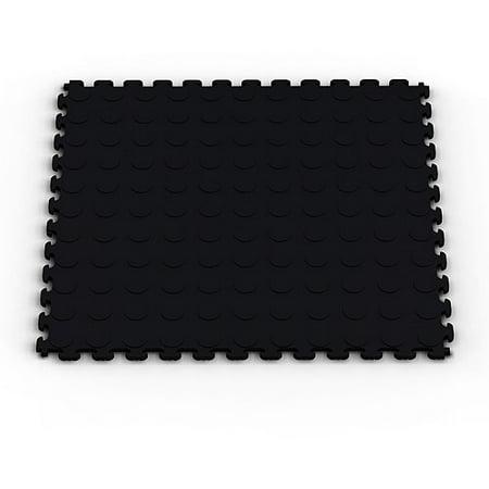 Norsk-Stor NSMPRC6BLK Raised Coin Pattern PVC Floor Tiles, 13.95-Square Feet, Black,