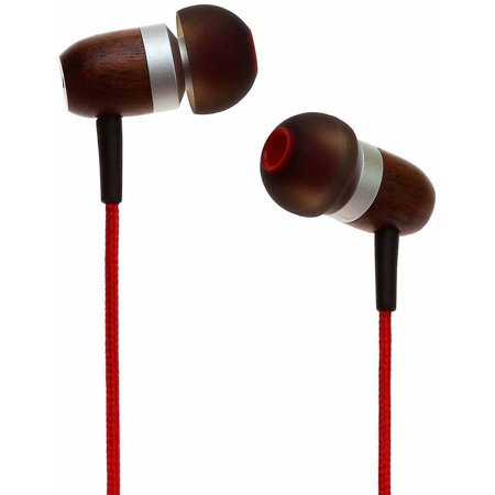 Cherry Headphone - Symphonized GLXY Premium Genuine Wood In-Ear Noise-Isolating Headphones with Mic and Nylon Cable