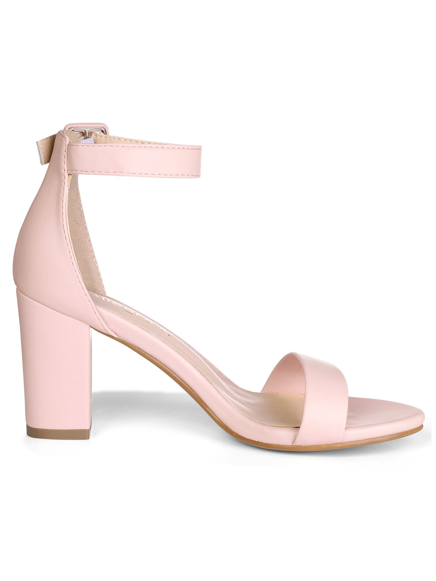 d09d58f776a8 Unique Bargains Women s Chunky High Heeled Open Toe Ankle Strap Sandals  Light Pink (Size 6.5)