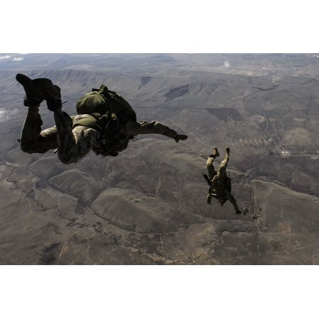 April 22 2014   Us Army Soldiers 1St Special Forces Group Conduct A High Altitude Low Opening Jump From A C 130J Super Hercules Over Yakima Training Center Washington Poster Print