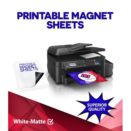 - Printable Magnet Sheets, 8.5 X 5.5 Inches, White, Design & Print Magnetic Sheets for Inkjet Printers- 15 Mil Thick!(50,Matte)