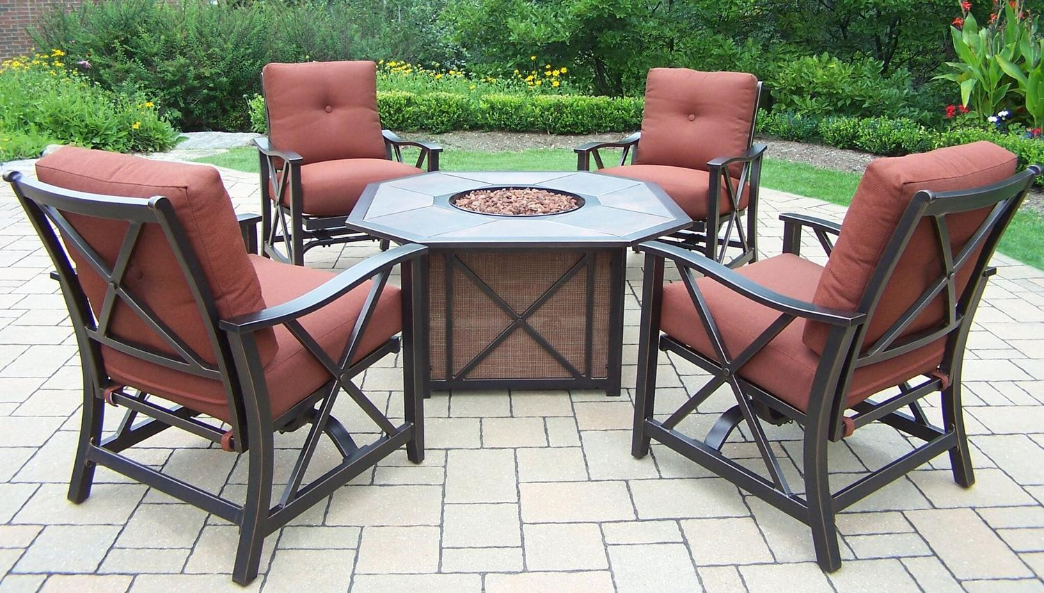 5 Piece Brown Aluminum Outdoor Furniture Patio Fire Pit Deep Seating Chat  Set   Red