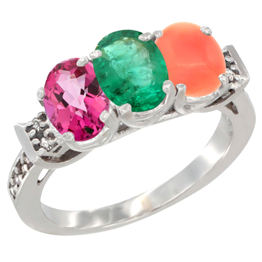 14K White Gold Natural Pink Topaz, Emerald & Coral Ring 3-Stone Oval 7x5 mm Diamond Accent, sizes 5 10 by WorldJewels