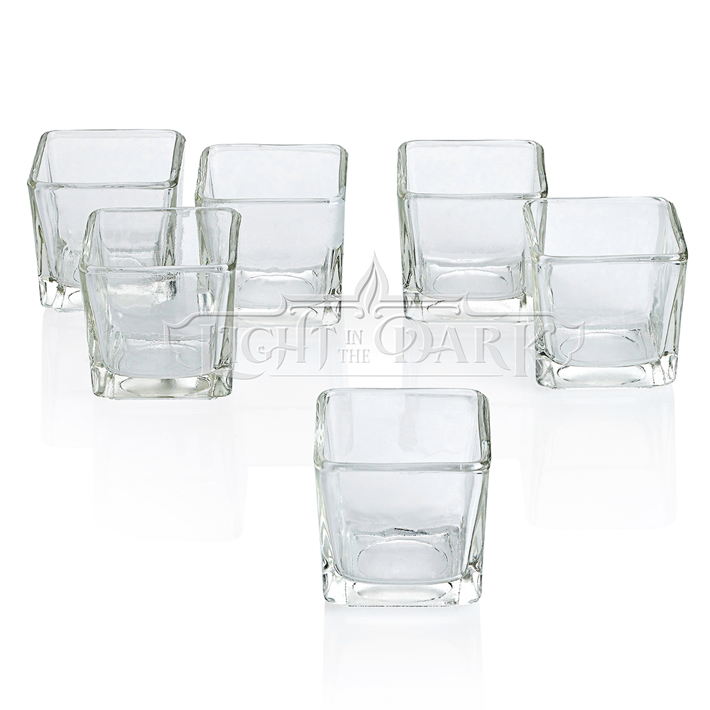 Clear Glass Square Votive Candle Holders Set of 72 by