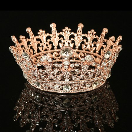 Rose Gold Plated Clear Round Crystal Rhinestone Full Tiara Crown Headband Wedding Party - Tiaras Crowns