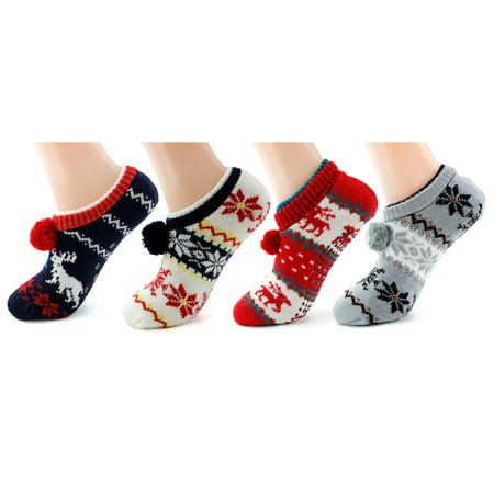 Women's Winter Slipper Socks  Super Soft Warm Cozy Fuzzy Fleece-lined Christmas Gift (Cheap Christmas Socks)