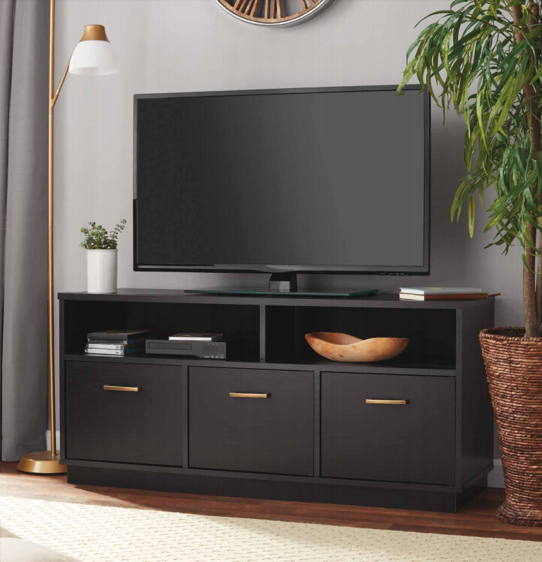 """Mainstays 3-Door TV Stand Console for TVs up to 50"""", True Black Oak Finish"""