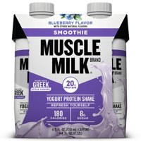 Muscle Milk Smoothie Yogurt Protein Shake, Blueberry, 20g Protein, 11 Fl Oz, 4 Ct
