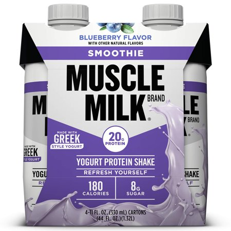 Muscle Milk Smoothie Yogurt Protein Shake, Blueberry, 20g Protein, Ready to Drink, 11 Fl Oz, 4 (Best Protein To Add Muscle Mass)