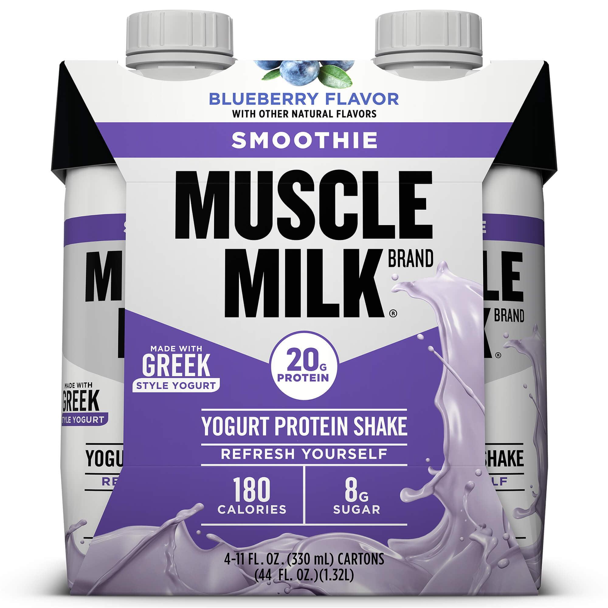 Muscle Milk Smoothie Yogurt Protein Shake, Blueberry, 20g Protein, Ready to Drink, 11 fl. oz., 4-Pack