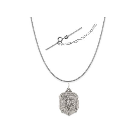 "Sterling Silver St. Michael Badge Medal Charm on a 0.90mm Box Chain Necklace, 18"" + 2"" Extender"