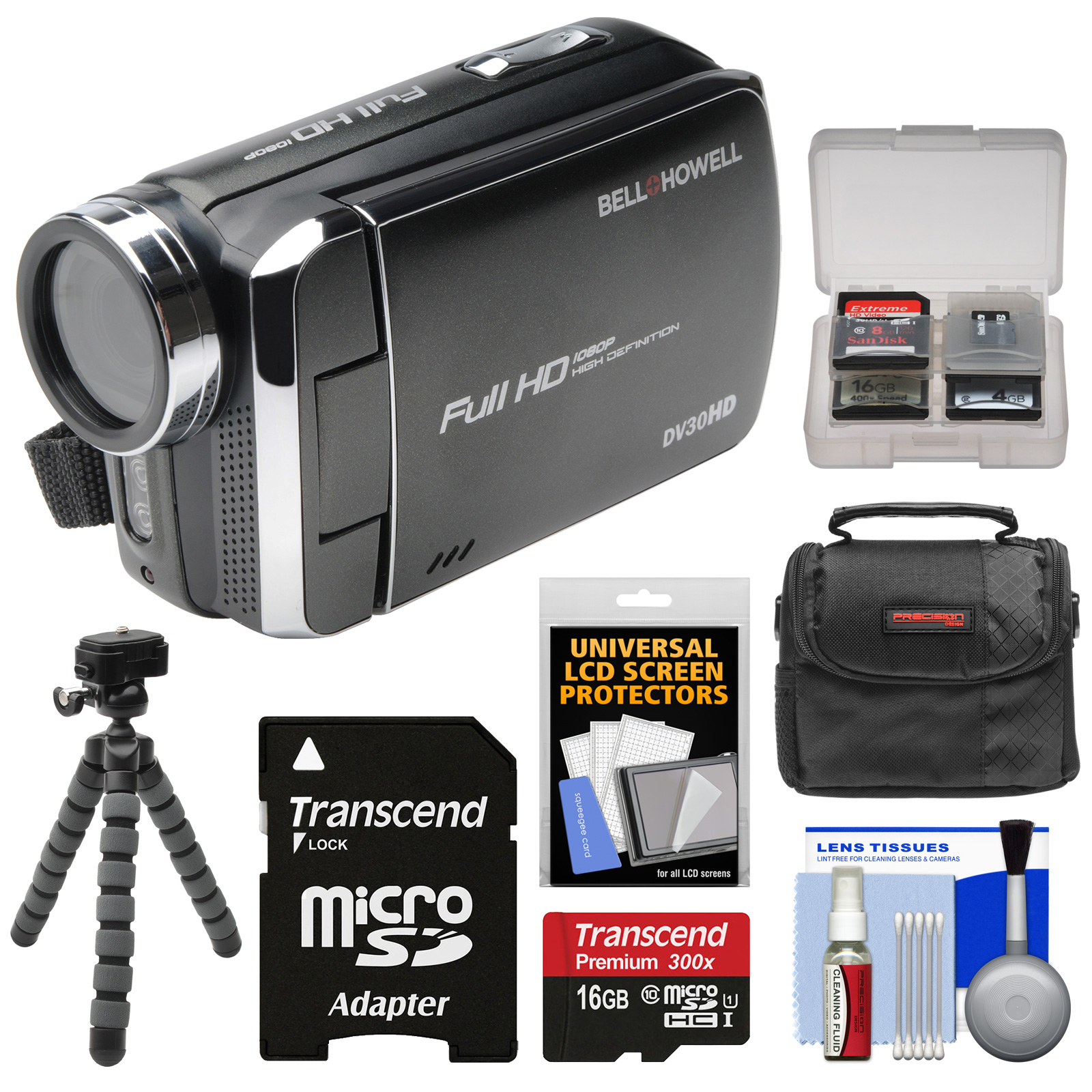 Bell & Howell DV30HD 1080p HD Video Camera Camcorder (Black) with 16GB Card + Case + Flex Tripod + Kit by Bell %2B Howell