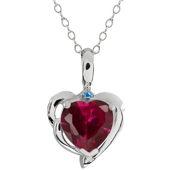 2.21 Ct Heart Shape Created Ruby Swiss Blue Simulated Topaz 925 Silver Pendant