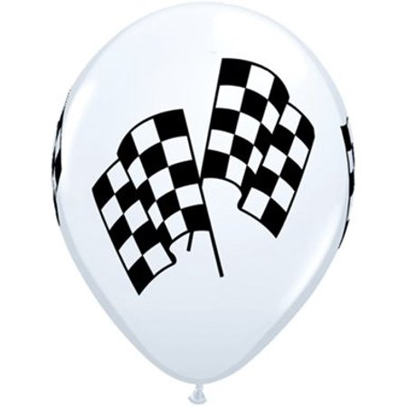 CHECKERED Flag Car NASCAR Stock RACE (6) LATEX Deluxe Quality Helium Balloons by - Flag Balloons