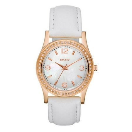 Ladies Mother of Pearl Rose Gold Crystal White Leather Watch NY8375